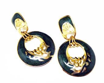 Vintage Berebi' Pierced Earrings - Large Retro Statement Earrings - Dangling Hoops Studs for Pierced Ears - Vintage 1980's 1990's Era