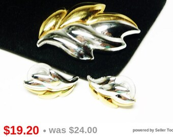 Monet Leaf Earrings & Brooch Demi Parure Set in Gold and Silver Tones - Designer Signed Jewelry