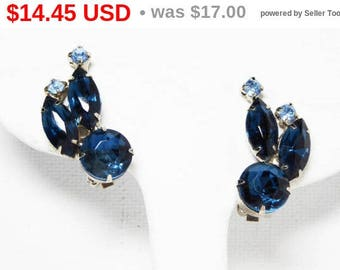 Spring Sale Vintage Rhinestone Earrings - Silver Tone Clip ons with Light Blue -Navy Blue Rhinestones - Prong set Marquis and Chatons - 1...