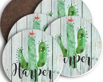 Custom Personalized Sandstone Coaster Set Cactus Southwestern Teacher Bridal Birthday Housewarming Gift Hardboard Neoprene Sandstone Coaster