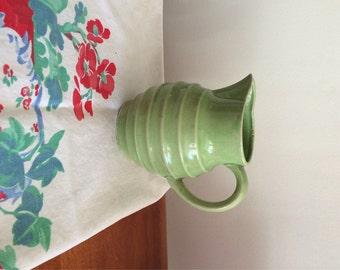 Vintage Pitcher Japan Pale Green Pottery Ridged Pitcher Shabby Chic Milk Pitcher Country Cottage Pale Green Pottery Collector Made in Japan