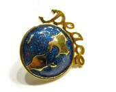 Vintage Avon World Peace Lapel Tack Pin Blue Glitter Enamel Globe Gold Gift for Mom Gift for Her Gift Idea Under 10