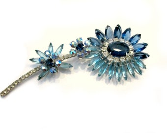 Vintage Juliana Delizza Elster Brooch Blue Rhinestone Flower Silver Rhinestone Flower Brooch Gift for Her Gift for Mom Collectible Jewelry