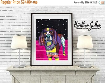 50% Off Today- English Springer Spaniel Art Dog Art  Art Print Poster by Heather Galler Painting (HG410)