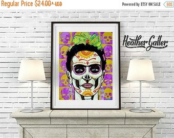 50% Off Today- Sugar Skulls Mexican Folk Art Frida Kahlo Print Poster Painting - Wedding Gifts (HG854)