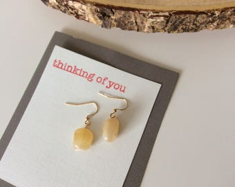 Cream Quartz Natural Stone Earrings - Thinking of You Gift - Hand Stamped Embossed Card