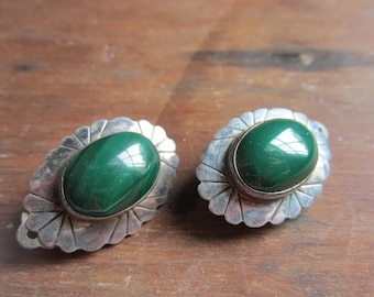 Vintage Sterling Silver Malachite Clip On Earrings
