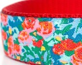 English Gardens Dog Collar, 1 inch width, Big Dog Collar, Adjustable Pet Collar, Floral Dog Collar, Flowers