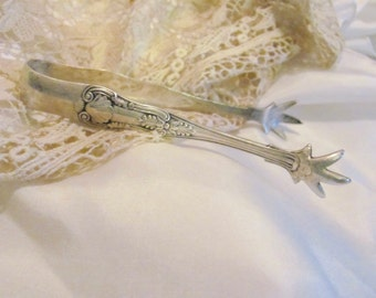 Tongs - Antique Silver Plate Small Claw Feet Sugar Tongs - 4.5 Inches Kings Pattern Gorham #2