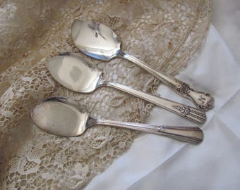 Jelly - 3 Antique Silver Plate Jelly Spoons Spreaders - Assorted Patterns (#3)