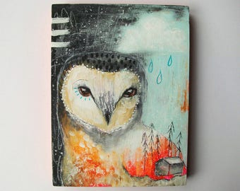 Original owl painting mixed media art painting on wood canvas 8x6 inches - Share your stories