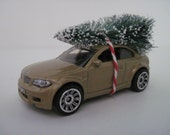 BMW 1M Gold Car - Matchbox - CHRISTMAS Ornament or Embellishment - Christmas Tree Tied to Top
