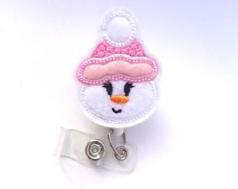Retractable badge holder - Sweet Snowgirl with Hat white and pink felt - Christmas badge reel Nurse badge reel medical badge reel