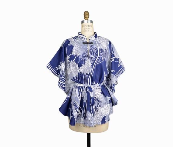 Vintage 60s Hawaiian Kaftan Tunic in Wispy Tree Print - women's small/medium