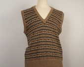 vintage knit sweater vest 80s 90s tan green brown V-neck acrylic fair isle striped waistcoat 42 chest