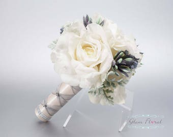 Natural White Bridal Wedding Bouquet. Cream White Ivory Roses, Succulents, Dusty Miller, Real Touch Flowers. Roses & Succulents Collection