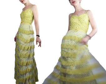 Vintage 1940s Maxi Sundress in Yellow Ditsy Print Cotton with Jacket, XS/ XXS