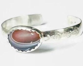 Botswana Agate Cuff Bracelet in Sterling Silver
