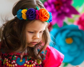 La Fiesta Flower Felt Crown Headband. Day Of The Dead/ Dia De Los Muertos/ Halloween/ Dress Up/ Hispanic