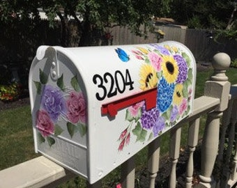 Jumbo painted mailbox, special order mailbox, hand painted mailbox, hydrangea mailbox, sunflower mailbox, flower mailbox, pretty mailbox