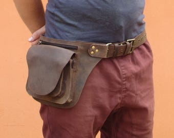 Leather Utility Belt, Leather Belt Bag, Hip Bag, Pouch Belt, Pocket Festival Belt in Brown- HB19K * Free Shipping*
