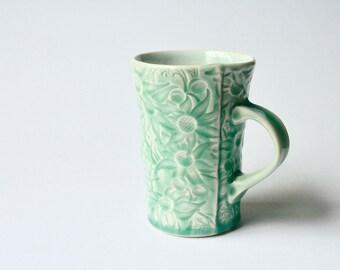 Teal mug with Australian Flannel Flower design