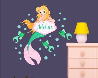 Wall Decal, Mermaid Wall Decal,   Personalized Reusable Fabric  Decal Set, Removable decal , Repositionable Decals, Under The Sea