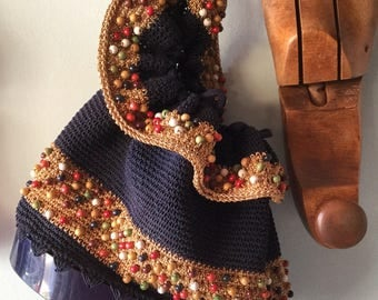 Amazing 1940s Navy beaded purse