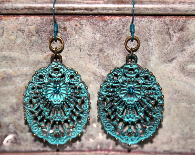 Aqua Patina Brass Lace Earrings