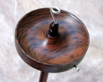 Medium size top whorl drop spindle in Tiger Myrtle and Dymondwood - light weight