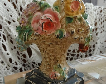 Vintage Lovely Shabby Cottage Chic Petite Floral Doorstop