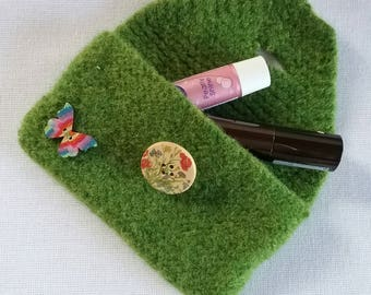 Knitted Felted Lipstick Ticket Coin Purse Green