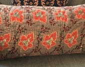 Antique French Provence Pillow Cushion Cover  12x20inch 30x50cm  Red and Brown. Natural Linen.