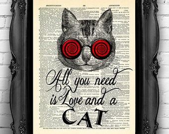 All you need is LOVE and a CAT Quotes Dictionary Art Print, Cat Wall Decor Poster, Funny Kitten Artwork, Funny Gift for Girlfriend MEOW 053