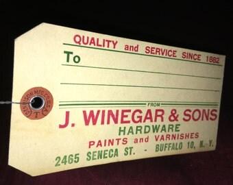 Vintage Hardware Store Advertising Tags: J. Winegar & Sons, Buffalo NY