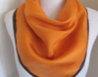 "SALE!! Beautiful Orange Brown Acetate Scarf // 21"" Inch 53cm Square"