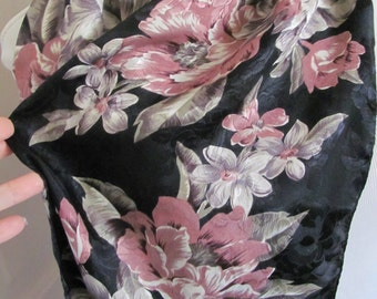 "Beautiful Black Pink Floral So Soft Poly Scarf - 10"" x 52"" Long"