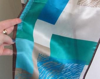 """Designer Lovely Blue White Silk Scarf // 11"""" x 58"""" Long"""