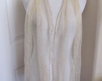 "Beautiful Antique Solid Ivory Woven Net Fringe Scarf - 18"" x 70"" Long"