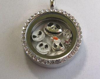 Night Mare Before Christmas Just Jack Floating Locket Necklace/Keychain