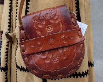 Vtg Leather Tooled Floral Mexican Hand Bag