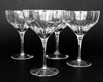 4 Vintage Crystal Coupe Champagne Glasses Lenox Starfire Coupe Glasses