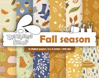 Fall Digital Paper Autumn Digital Paper Autumn Digital Background Pumpkin Paper Fall Patterns Autumn pattern Leaves pattern maple leaves