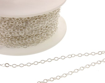 3-10ft, 2.5x3.2mm, Sterling Flat Cable Chain, Soldered Link, sterling chain, chain by the foot