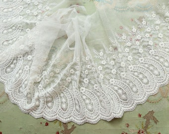 "Antique cotton edwardian lace 12"" wide tambour tulle flowers dress trim white wedding dress flapper intricate pattern"