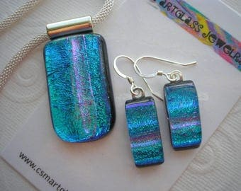 Dichroic Glass Jewelry Set Matching Iridescent Blue Green with Pink Stripe Sparkle Glass Earrings and Pendant Home Crafted Necklace Pretty