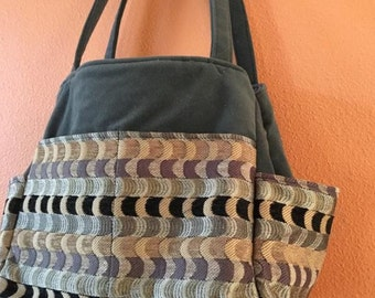 Katrina #46  Upholstery Fabric Bag, Upholstery Fabric Knitting Bag, Knitting Bag, Project Bag, Gym Bag, Knitters, Crochet and Knit, Projects