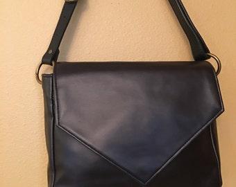 Becca #1719, Black Heavy Vinyl Purse, Modern Purse, Black Purse, Cross Body Purse, Cross Body Bag, Up Scale Vinyl Purse, Up Cycled Bag, Bags