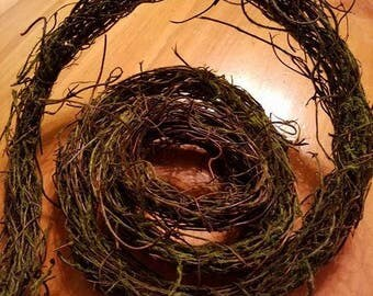 Angel Hair Grapevine Moss, Grapevine Garland With Moss , Grapevine Twig Garland, Primitive, Rustic, Weddings, Craft Supplies, Party Supplies