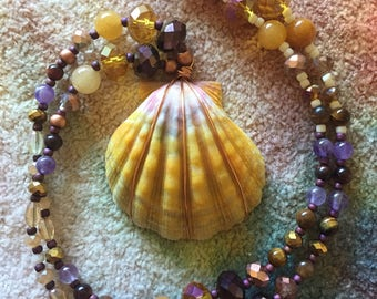 Mermaid Medallion// Beaded Large Sunrise Shell Necklace // Purples and Golds